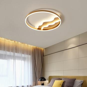 Gold Finished Modern led ceiling lights for living room study room bedroom Dia400/600mm 110V 220V Ceiling Lamp Fixtures