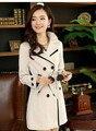 Мода Длинные Пальто Шанца Ремень 2015 Весной Новые Корейские Женщины высокое Качество Двойной Брестед Нагрудные Леди Gabardinas Плюс Размер 3XL 4XL