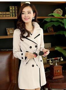 Moda Largo Trench Coat Cinturón 2015 Primavera Nuevas Mujeres Coreanas alta Calidad Doble de Pecho de Solapa Señora Gabardinas Plus Tamaño 3XL 4XL