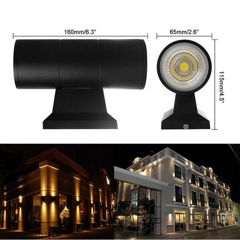 Free Shippin Double CREE Chip 2 7W COB LED Outdoor Wall Light 14W Up Down Dimmable