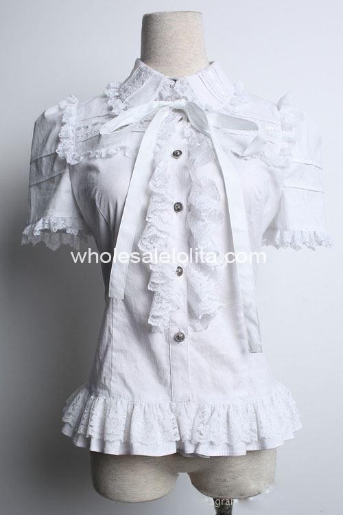Индивидуальный заказ блузка холодный белый Готическая Лолита Блузка сладкий Кружево Лолита рубашка Готический блузка