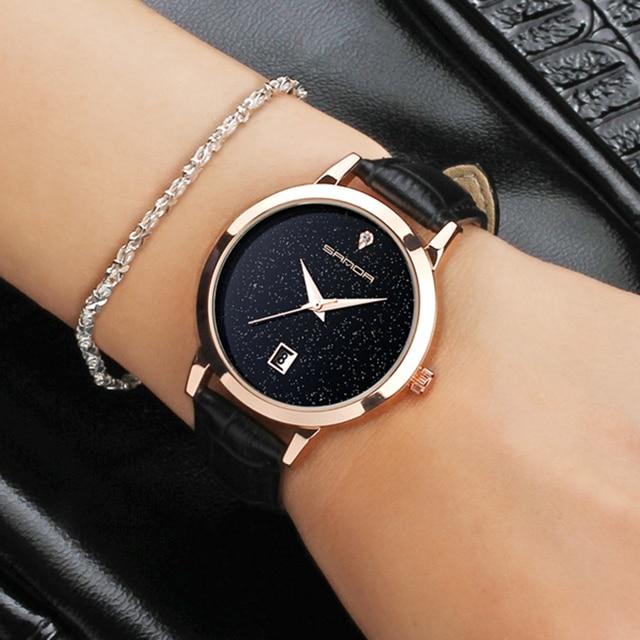 2017 SANDA Fashion Star Dial Women Watches Luxury Golden Leather Ladies Watch Women Dress Clock Calendar relogio feminino P194