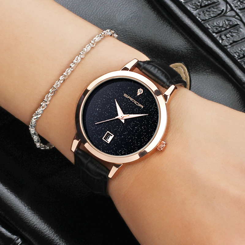 2017 SANDA Fashion Star Dial Women Watches Luxury Golden Leather Ladies Watch Women Dress Clock Calendar relogio feminino P194