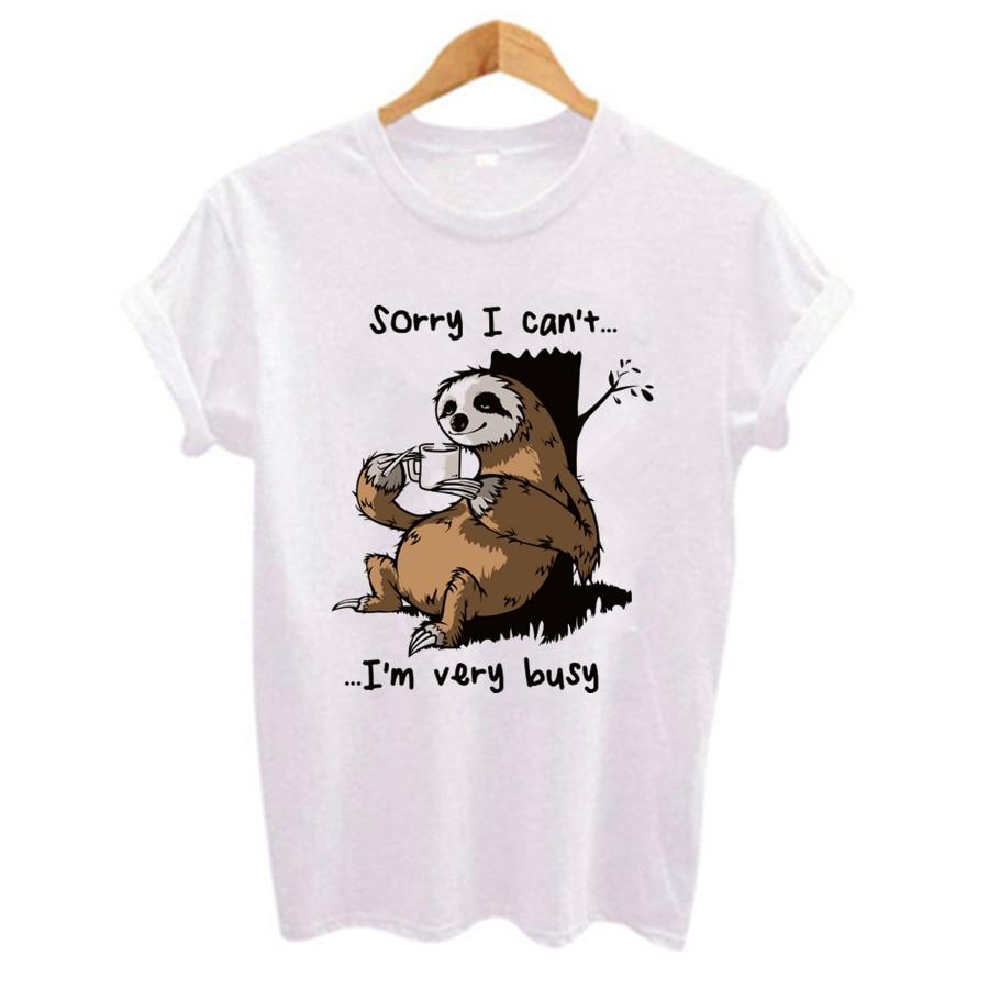 Cartoon sloth Print Women   t     shirt   2019 Plus Size Casual Short Sleeve O-Neck   t  -  shirt   Cute style Tumblr tshirts camiseta mujer