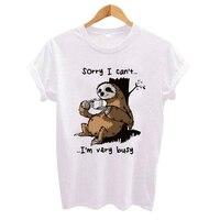 Kreskówka nadruk z leniwcem kobiet t koszula 2019 Plus rozmiar dorywczo z krótkim rękawem O-Neck t-shirt ładny styl Tumblr koszulki camiseta mujer