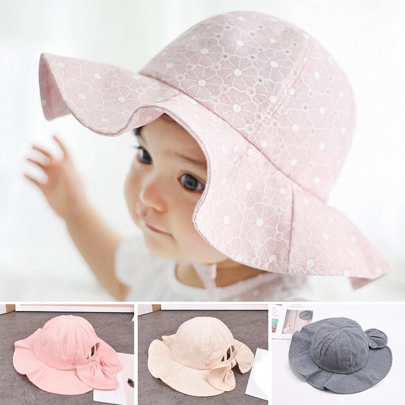41e7b6e6 Summer Outdoor Baby Hat Cap Infant Baby Girl Sun Hat Cotton Children Kids  Baby Summer Hat