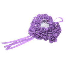 Heart Shape Flower Hanging wedding ring box Girlfriend Propose Wedding Ring Pendant Jewelry Box Case Holder  Purple jewelry