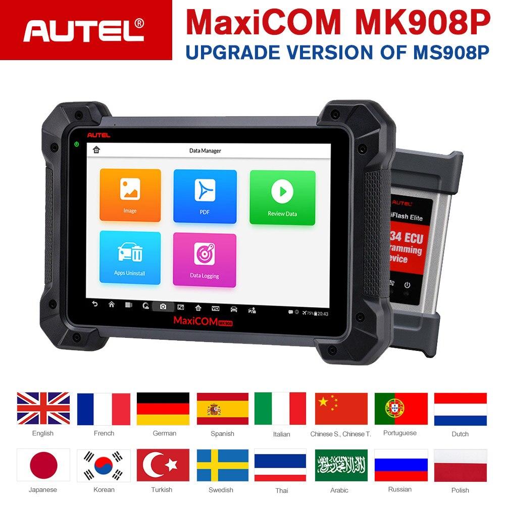Autel MaxiCom MK908P OBDII ECU Tester di Programmazione OBD2 Auto Diagnostico Scanner Tool J2534 Programmatore PK Maxisys Elite MS908 Pro