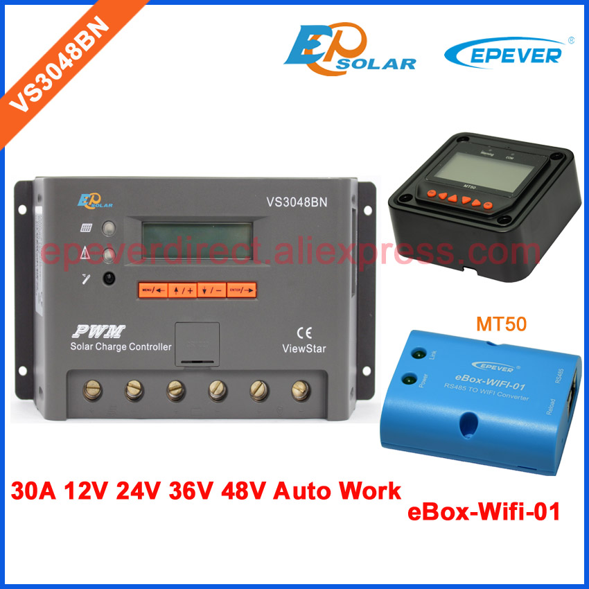24v built in lcd display controller EPEVER solar panel charger VS3048BN with wifi BOX and MT50 remote meter 30A24v built in lcd display controller EPEVER solar panel charger VS3048BN with wifi BOX and MT50 remote meter 30A