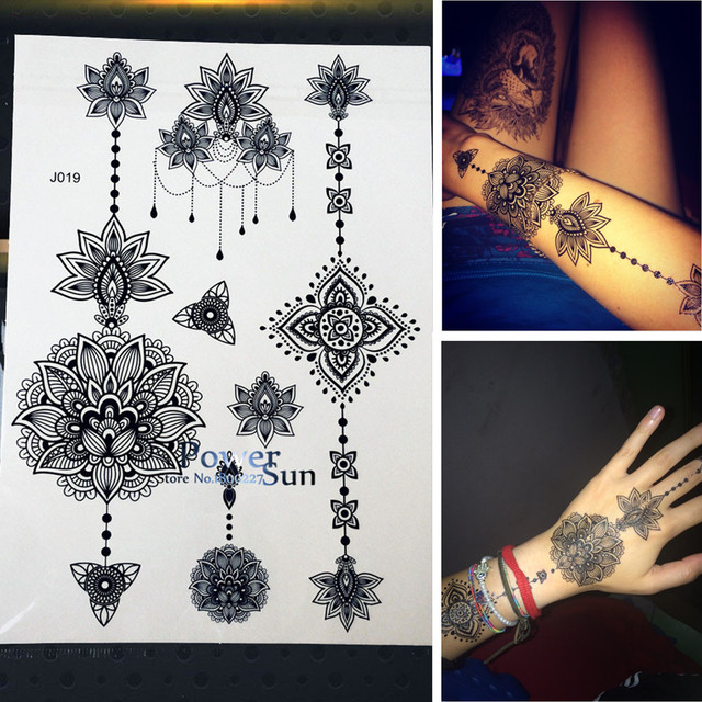 25 Style Flash Women Tattoo Stickers Large Flower Pendant Jewelry Waterproof Arm Back Fake Henna Tattoo Black Ink