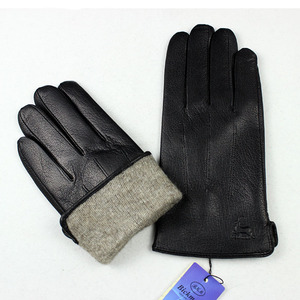 Image 3 - Guantes Leather Gloves Male Deerskin Fashion Stripes Style Wool Lining Spring And Autumn Warm Price Concessions Free Shipping