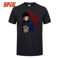 Men Tops T Shirt One Piece Anime Cartoon The Law Men Round Collar Short Sleeved Clothing Latest Teenage T Shirt Quotes
