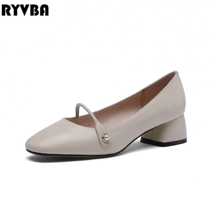 RYVBA woman genuine leather square heels pumps for women spring black shoes ladies sexy apricot party autumn winter 2019 new