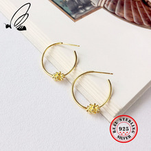 Pure 925 Sterling Silver Gold Flower Hoop Earrings Big Circle C Shape Simple Elegant Earings For Girls Fine Jewelry Women