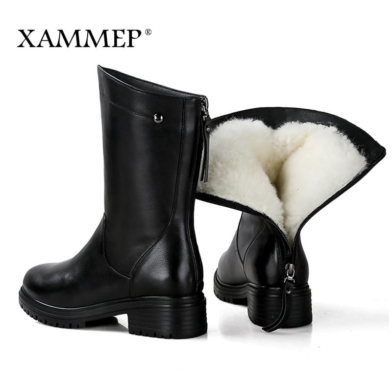 42 Marca Botas De Mediados Natural Plataforma Lana 43 Invierno Cuero Las Ternero Genuino Zapatos Xammep Mujeres Black Con Mujer APRBWqAcZ