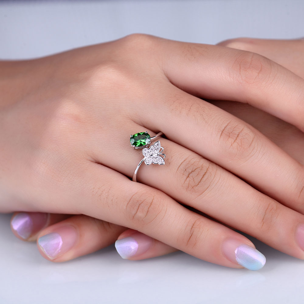 DOUBLE R 925 Sterling Silver Created Green Emerald Gemstone Ring-in ...