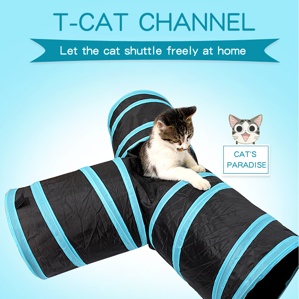 Cat Tunnel Toy Pet Indoor Folding Cat Training Supplies A Variety Of Styles Resistant To Play Cat Toys T-type Dog Tunnel Pet Toy