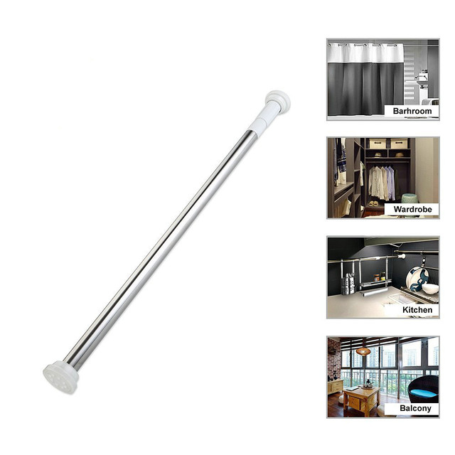 Premium Stainless Steel Tension Rod Curtain Shower Adjustable Rod Spring  Tension Bathroom Window Wardrobe Rods No