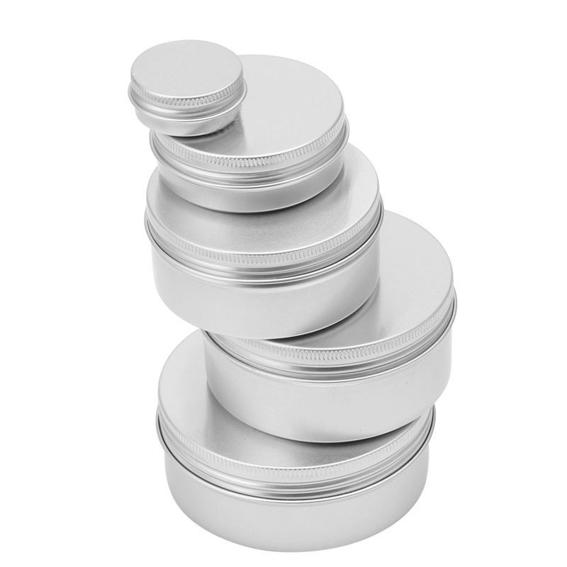 5pcs/lot 10ML-200ML Durable Aluminum Cosmetic Pot Lip Balm Jar <font><b>Containers</b></font> Oil <font><b>Wax</b></font> Empty #Y207E# Hot Sale