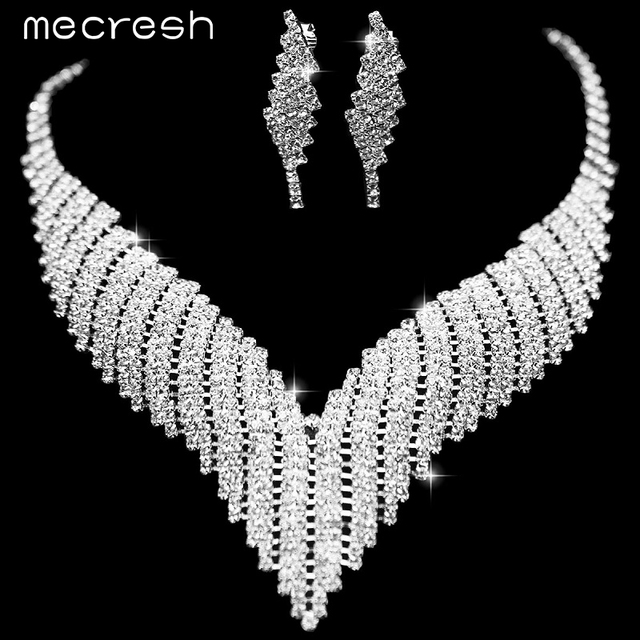 Mecresh Gorgeous Crystal Bridal Jewelry Sets Wedding Jewelry Wedding Accessories Including Necklace and Earrings TL011