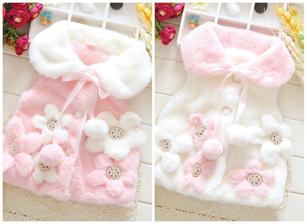 EMS-DHL-Free-Shipping-Kids-Toddler-Girls-Children-Wear-Pink-White-Faux-Fur-Waistcoat-5-Flower