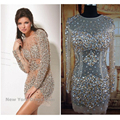 sexy see through fabric heavy sequins long sleeve beaded cocktail dresses new fashion 2016