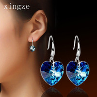 High Quality 925 Sterling Silver Jewelry Short Heart Of Ocean Blue Crystal Dangle Earrings For Women