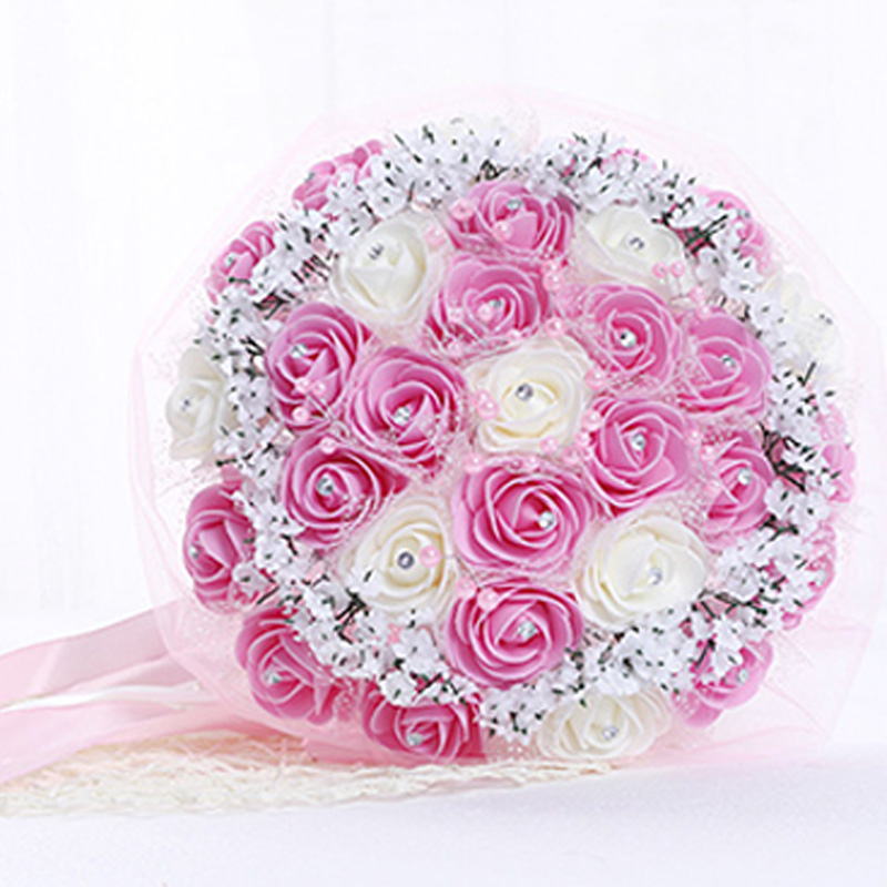 1Pcs Bride holding flowers Romantic Wedding DIY Decoration Colorful Rose Bridal Bouquet Pink/Red/Blue Bouquets