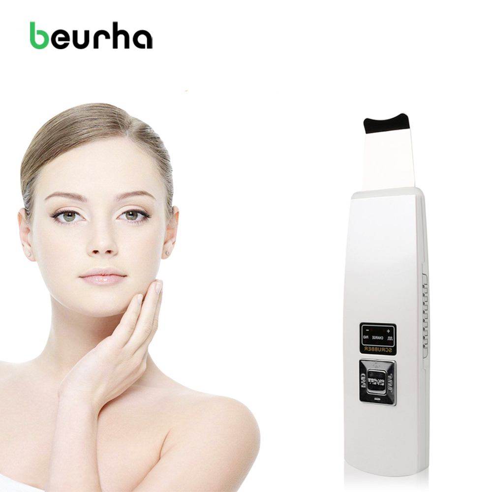 Beurha Ultrasound Skin Cleaner Ultrasonic Pore Cleaning Face Peeling Facial Cleansing Machine Acne Removal Tool Beauty Care eu portable ultrasonic facial cleaner face care tool lcd digital acne removal skin cleaning ultrasound peeling spa beauty lw006
