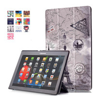 Tempered Glass Screen Protector PU Leather Stand Cover Case For Lenovo Tab2 Tab 2 A10 70