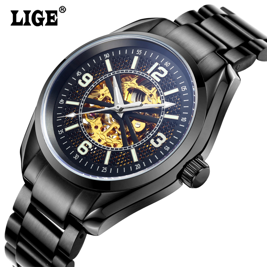 2016 Mens Brand LIGE Hollow Automatic Mechanical Watches Men Dive Sport Full Steel Watch Man Black Clock Business Wristwatches t winner automatic watch mens trendy mechanical auto windding silicone band wristwatches modern elegant analog hollow clock gift