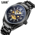 2016 Mens Brand LIGE Hollow Automatic Mechanical Watches Men Dive Sport Full Steel Watch Man Black Clock Business Wristwatches