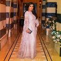 Elegante de Manga Larga Musulmán Del Vestido de Noche 2016 Una Línea de Encaje Mujeres Vestidos Para Ocasiones Especiales Vestidos Islámicos Por Encargo S122804