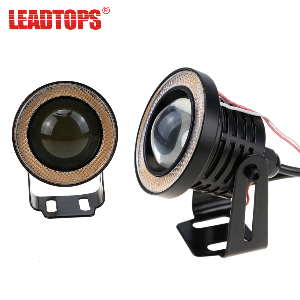 LEADTOPS Auto LED Angel Eyes Fog Light COB in Daytime Running Lights Car DRL Any Car 12v For Audi a4/Kia rio/Bmw e39/Ford BH leadtops car led lens fog light eye refit fish fog lamp hawk eagle eye daytime running lights 12v automobile for audi ae