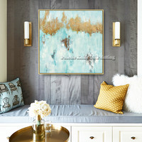 Canvas painting gold art acrylic blue painting abstract quadros cuadros decoration Wall art Pictures for living room home decor