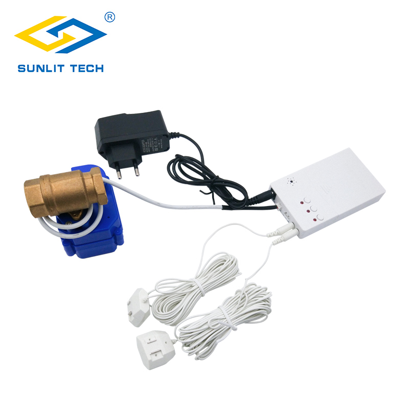 Home Smart Water Leak Detector with Auto Shut Off Valve Water Flood Alert Overflow Leakage Sensor