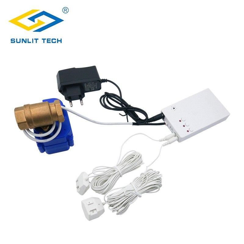 Casa inteligente detector de vazamento de água com válvula de desligamento automático alerta de inundação de água sensor de vazamento de excesso para o sistema de alarme de segurança em casa