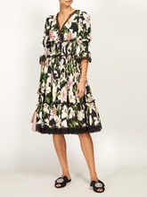 Europe and America women's half sleeves dress 2019 summer runways floral print V neck dress A428 black random floral print half flared sleeves mini dress