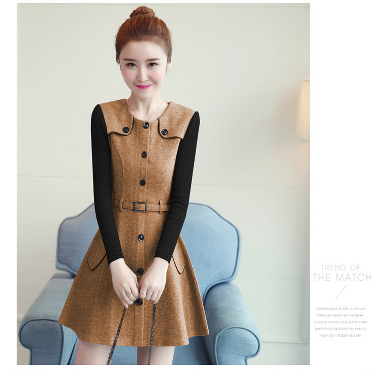 winter new round collar single-breasted cloth dress belt buttons A word women dresses Korean fashion outfit lady vogue vestido 26
