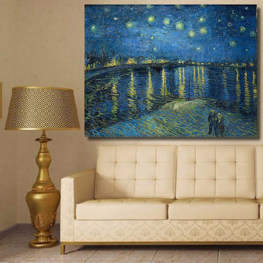HDARTISAN Starry Night Over the Rhone by Vincent van Gogh print oil painting on Canvas wall painting picture for Living Room