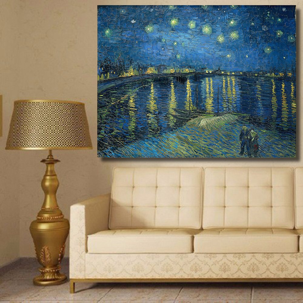 HDARTISAN Starry Night Over the Rhone by Vincent van Gogh print oil painting on Canvas wall painting picture for Living Room ...