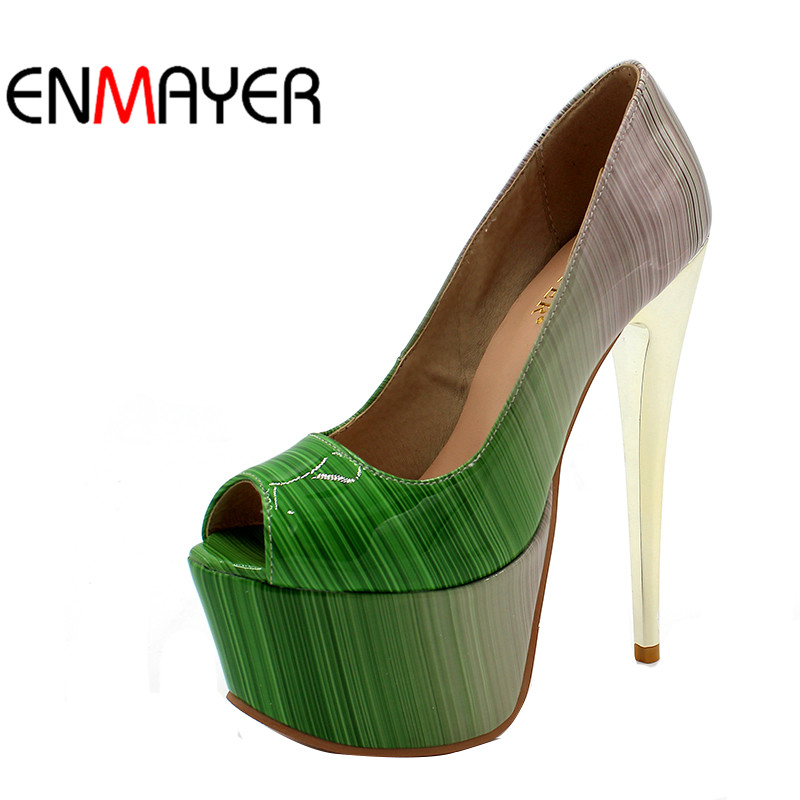 ENMAYER Summer Women Pumps Shoes Mixed Colors Peep Toe Slip-On Thin Heels Platform Large Size 34-47 Red Pink Green Brown enmayer summer women pumps shoes mixed colors peep toe slip on thin heels platform large size 34 47 red pink green brown