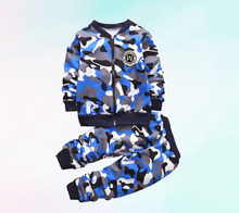High quality autumn and winter children's clothing plus velvet / camouflage / thickening warm sports suit 1-5 year old boy girl baby girl clothes child girl winter clothes suit 0 1 2 3 year old plus velvet thickening warm three pieces costume for boys