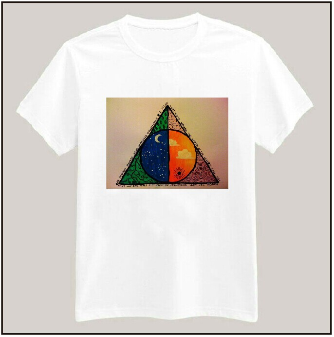 Women Tshirt DEATHLY HALLOW Triangle Print Casual Cotton Funny Shirt Top Tee Whtie Brand Hipster Plus