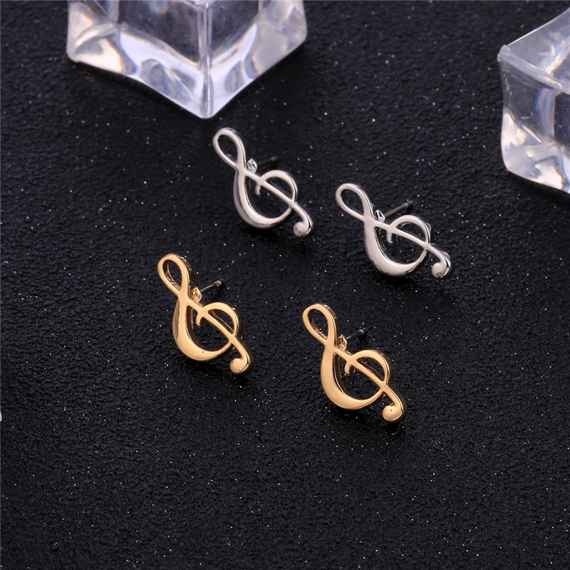 Tiny Violin Treble Clef Music Jewelry Stud Earrings