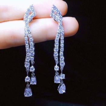 New Earrings Pear-shaped Tassel Earrings S925 Silver Inlay Zircon Elegant And Irregular Irregular_Factory Direct Sales
