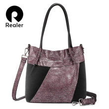 Realer shoulder bags women high quality genuine leather fema