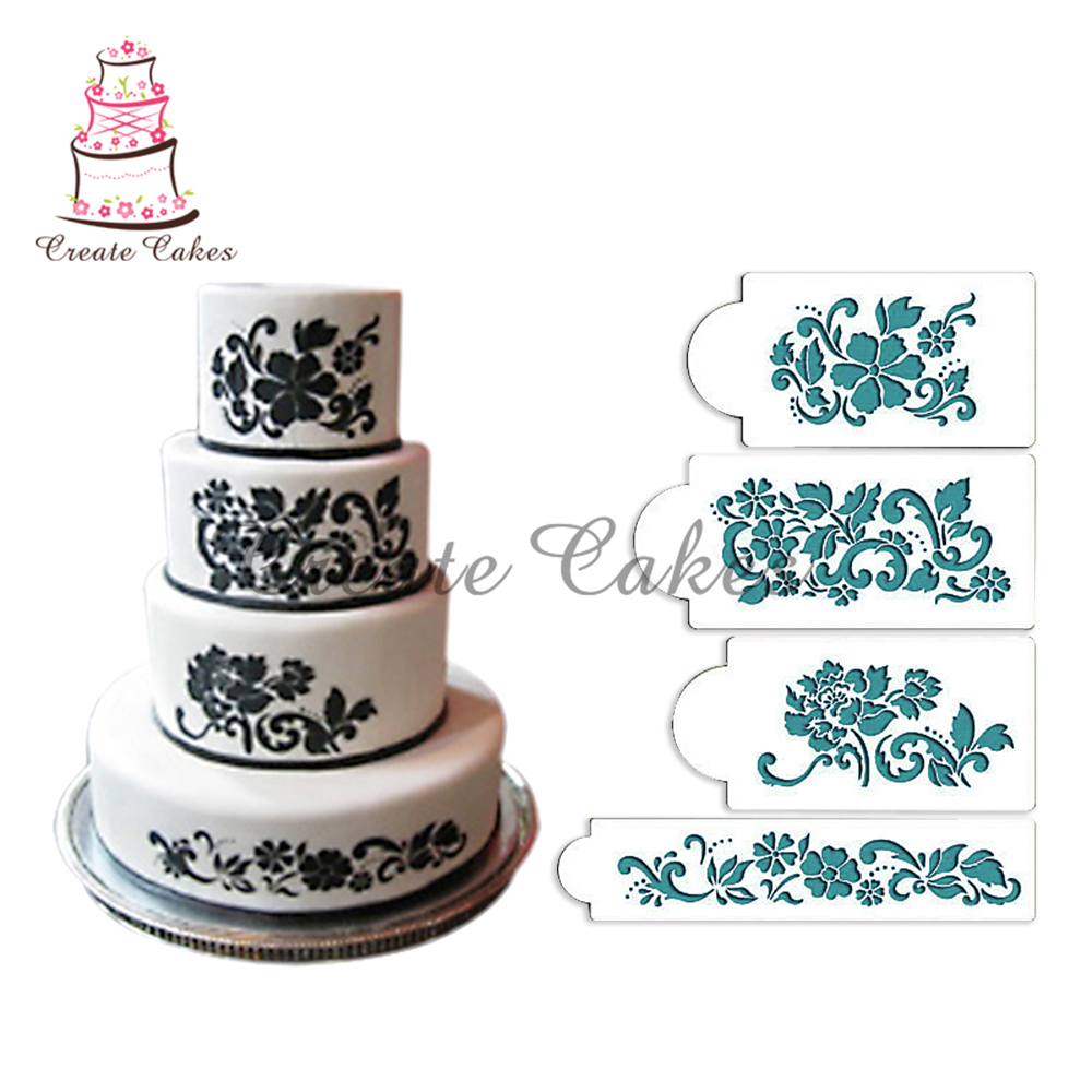 Aliexpress Buy Floral Explosion Cake Stencil Set Flower Plastic Wedding Cake Stencil
