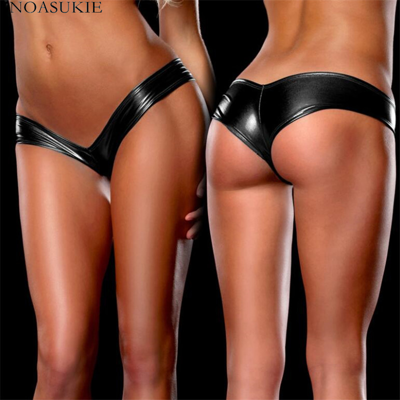6 Colors Underwear Woman Sexy Panties Solid Flashing Opaque Patent Leather Underwear Imitation Leather Pants Shining Stringi(China)