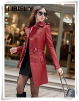 Spring Nice New Casual Dress Leather Jacket Women Pu Leather Long Paragraph Leather coat,slim Leather Coat Jackets A2
